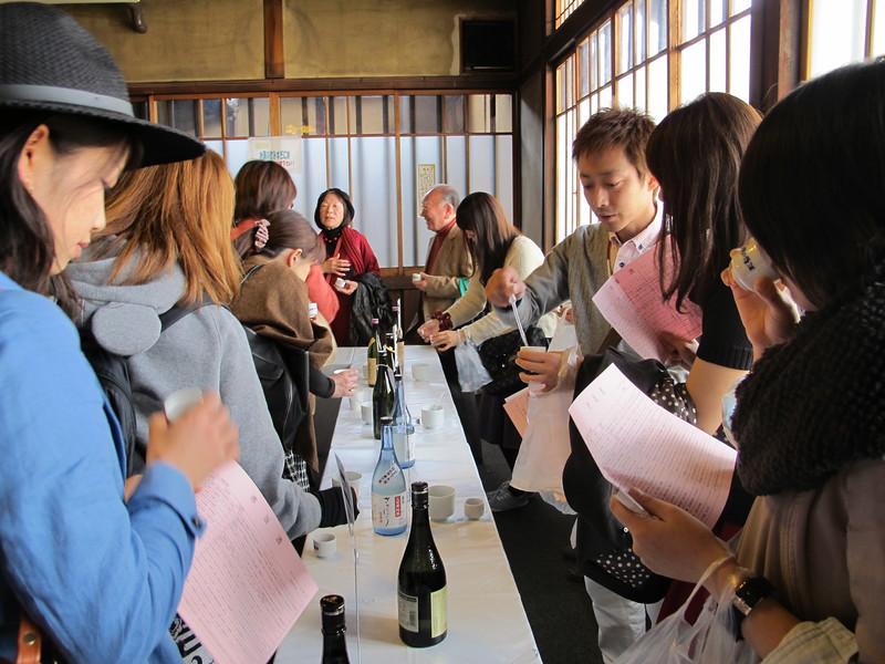 Sake tasting at the Fushimi Sake Festival