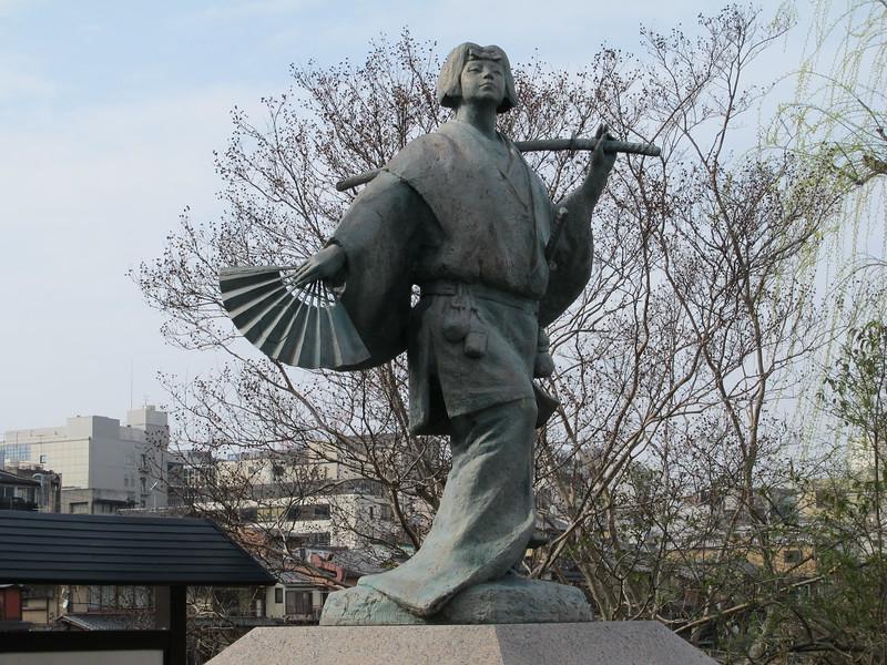 The statue of Izumo no Okuni by Shijo Bridge in Kyoto. image copyright Michael Lambe