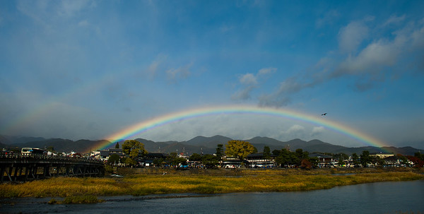 Rainbow over the city of Kyoto. What does it mean? image copyright Jeffrey Friedl