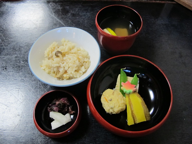 Rice with miso soup, and pickles
