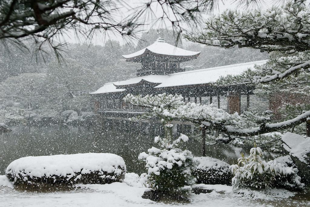 Heian-jingu Garden in winter image copyright Jeffrey Friedl