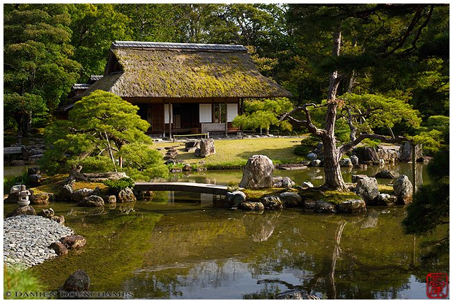 Katsura Rikyu Detached Palace garden with thatched teahouse image copyright Damien Douxchamps