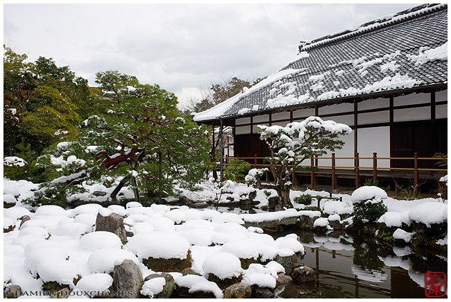 Toji-in Temple garden under snow image copyright Damien Douxchamps