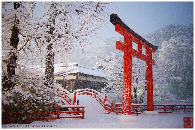 Shimogamo-jinja Shrine in snow image copyright Damien Douxchamps