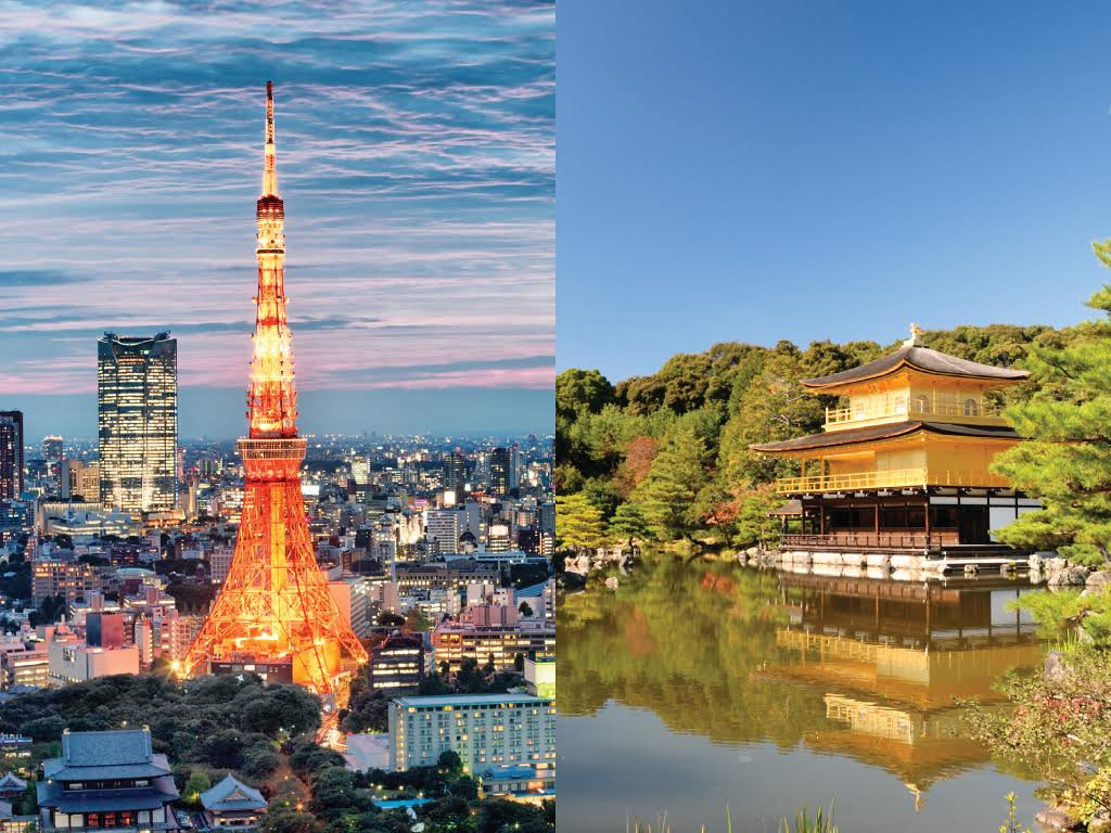 Tokyo Tower and Kyoto's Golden Pavilion
